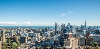 Scenic cityscape of downtown Toronto Ontario Canada during a sunny day