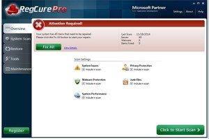 Reg Cure screenshot registry scan