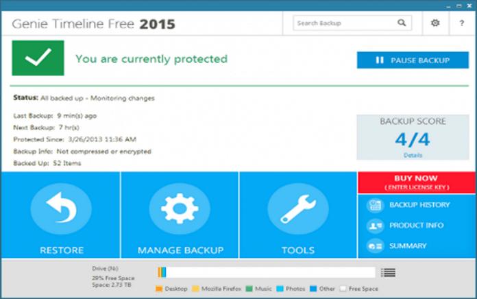 GenieTimeline Free backup