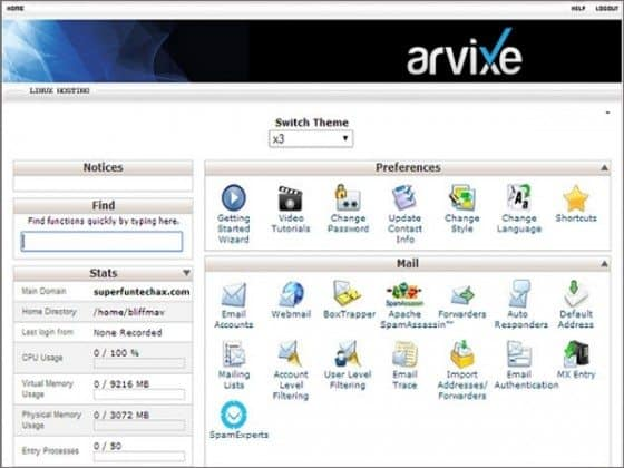 arvixe vps cpanel