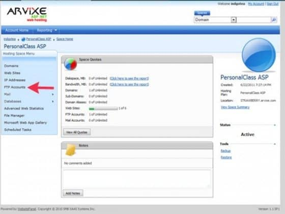 Arvixe windows server