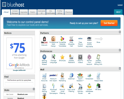 bluehost-VPS Cpanel