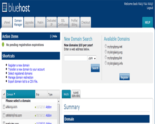 bluehost VPS domain manager