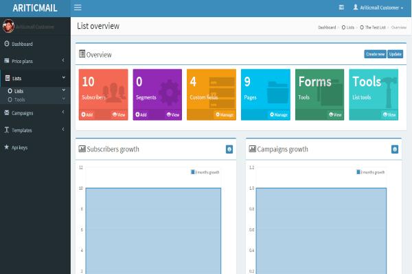 ariticmail-list-management-dashboard