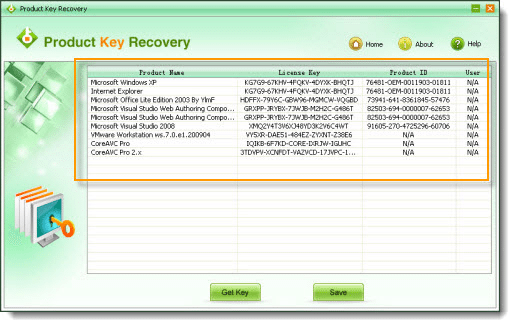 Product Key Recovery key search