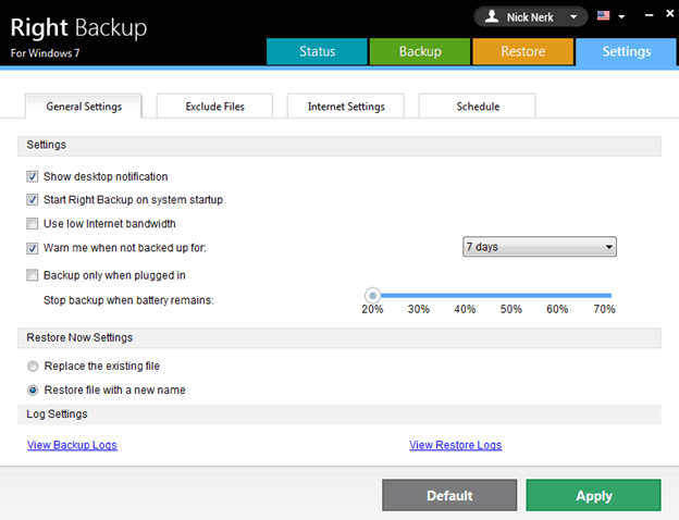 Right Backup General Settings