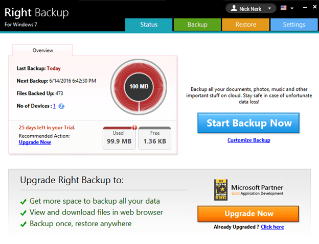 Right Backup for windows