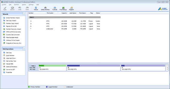 AOMEI Partition Assistant Screenshot