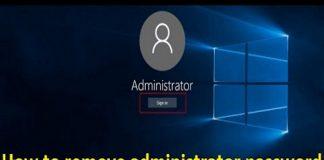 how to remove Windows 10 admin password
