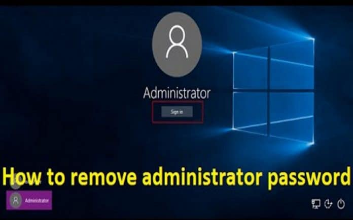 how to remove Windows 10 admin password