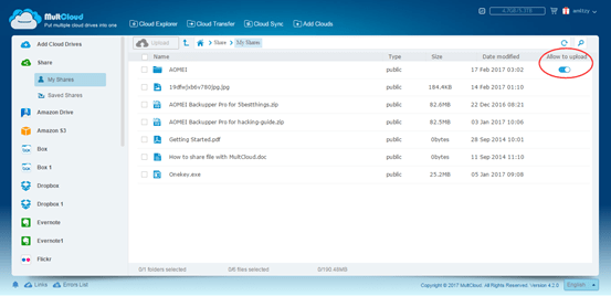 MultCloud share manager